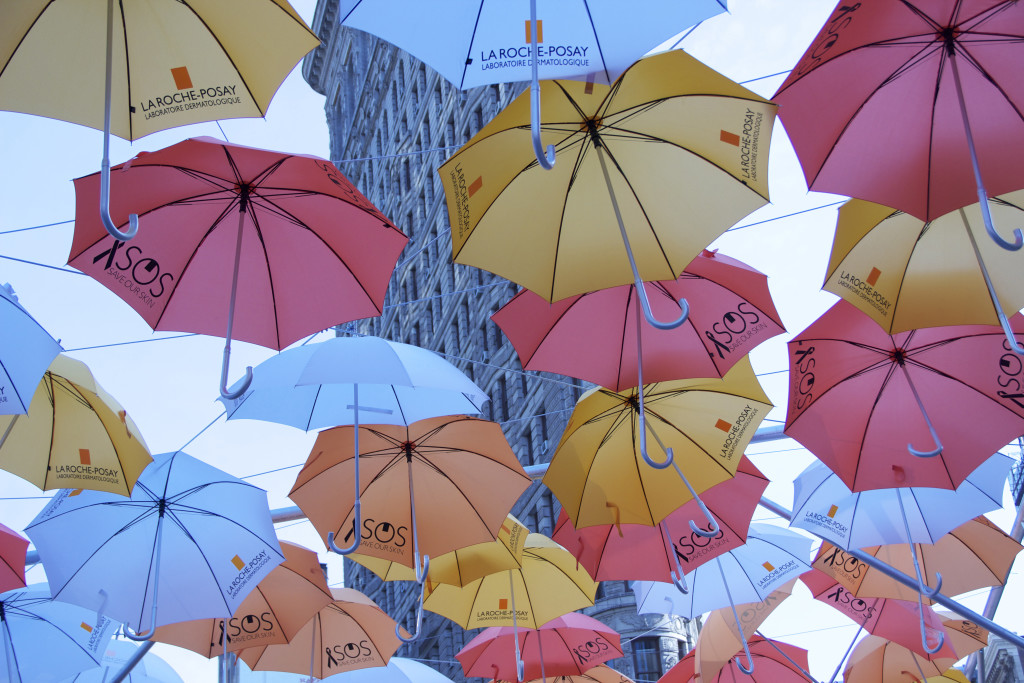Umbrellas overhead display