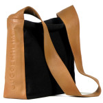 Custom shaped bag leather and canvas
