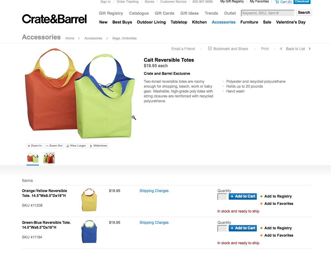 Crate and barrel Bags Gouda, Inc.