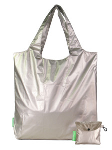 Silver nylon shoulder tote
