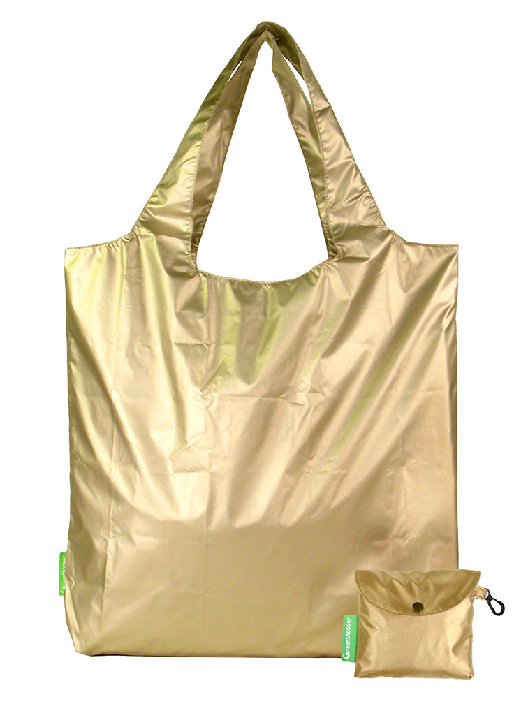 gold nylon shoulder tote