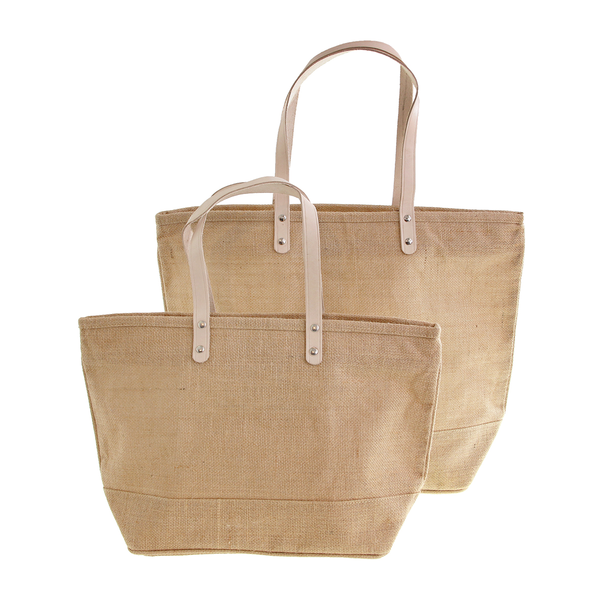 Jute Totes with Leather Handles