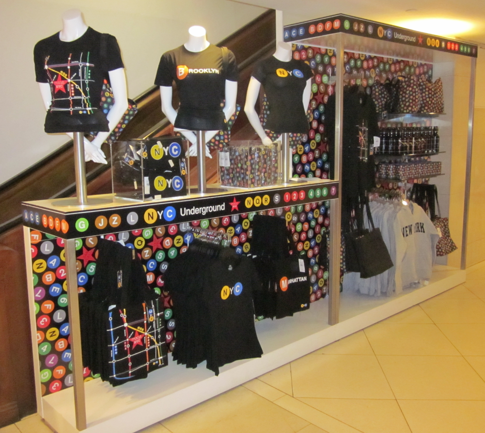 Macys display of custom produced product in cooperation with the MTA