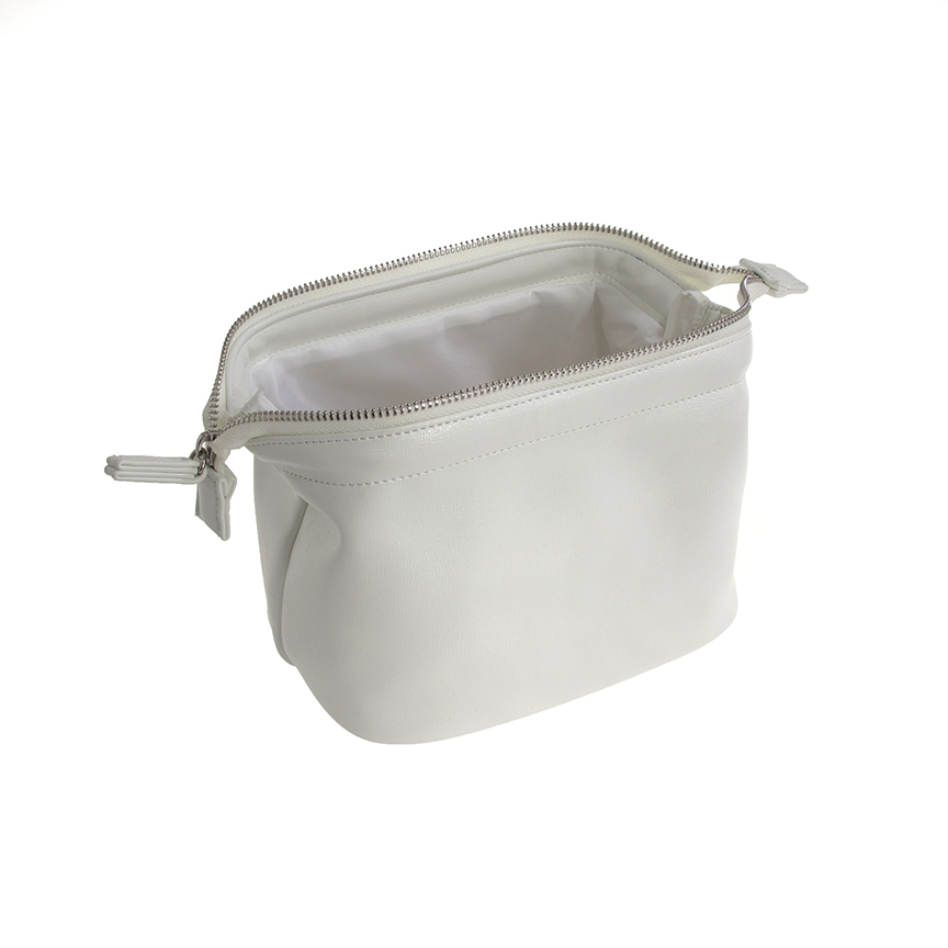 White leather costmetic bag