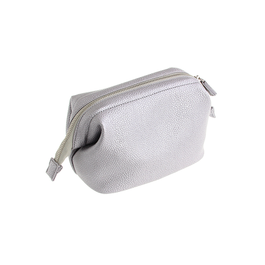 cosmetic case silver leather