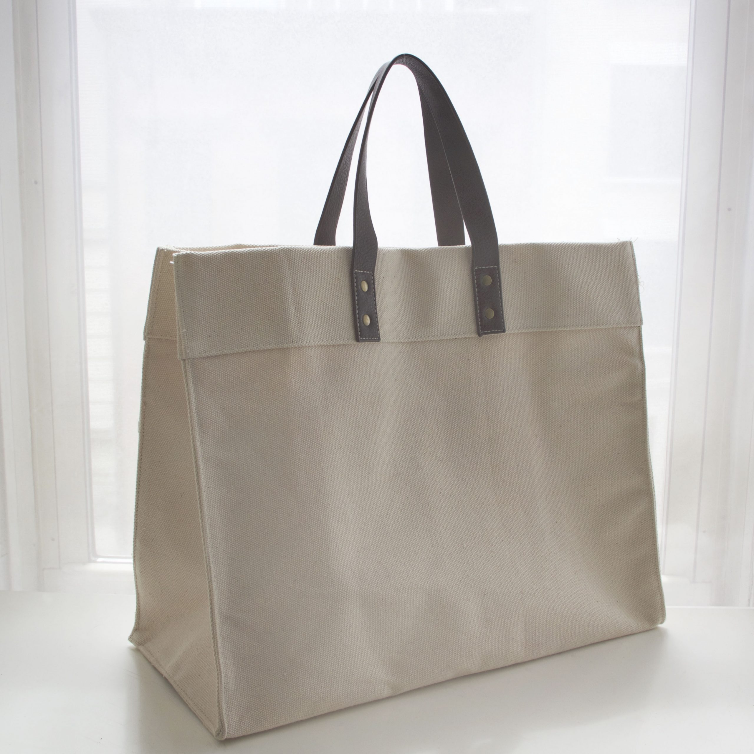 Heavy Canvas Logo Tote - with Vegan Leather Handles