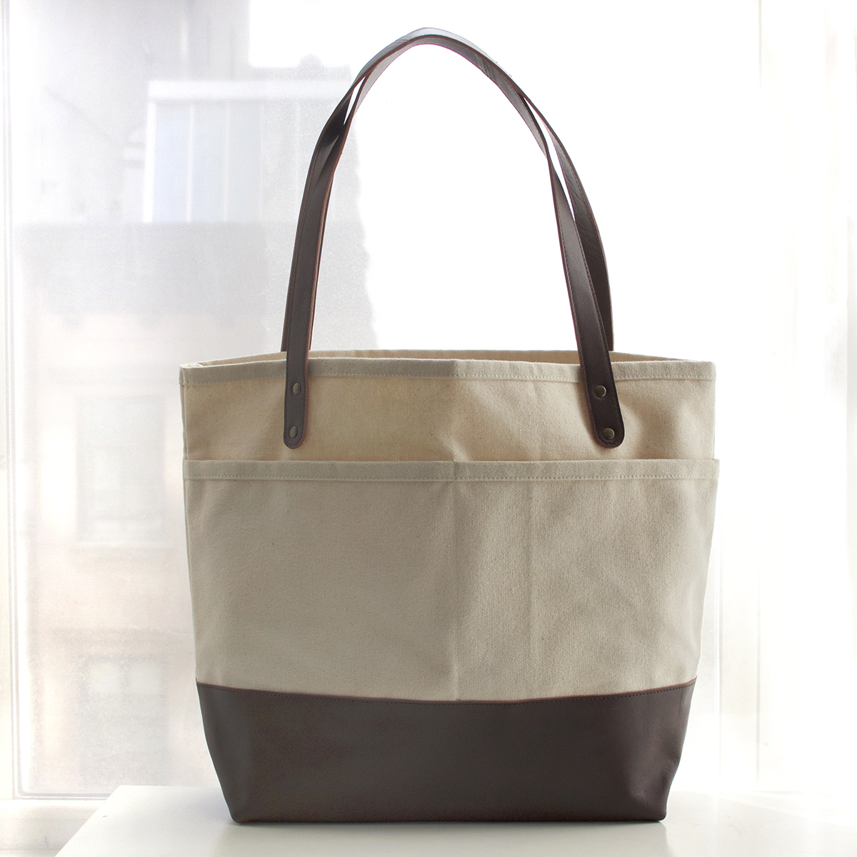 Custom Leather Bottom Totes