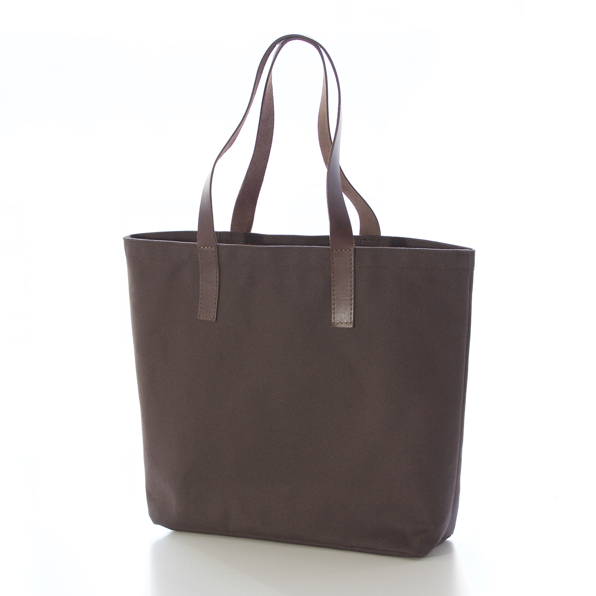 Brown canvas tote with leather handles