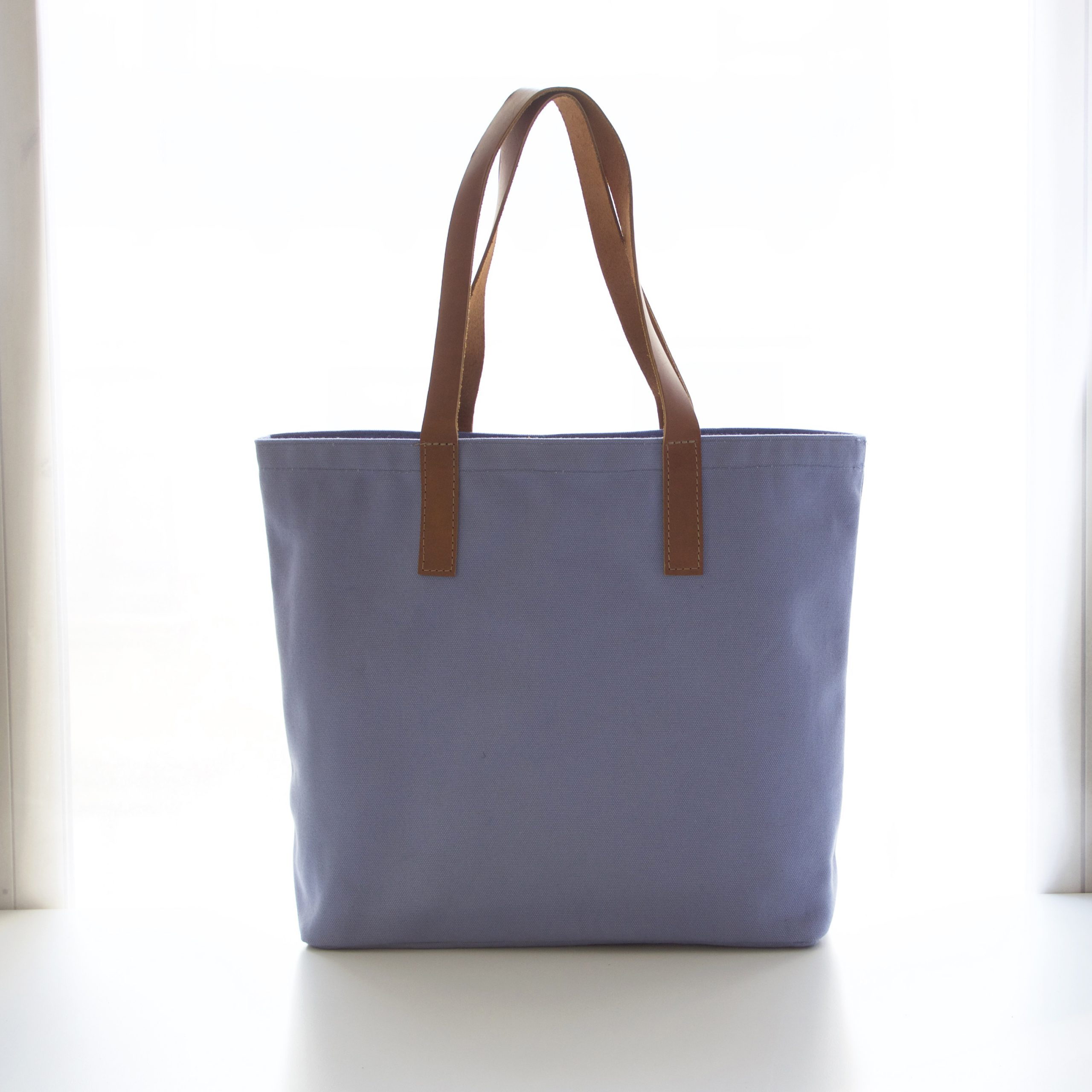 Color Canvas Tote with Leather Handles