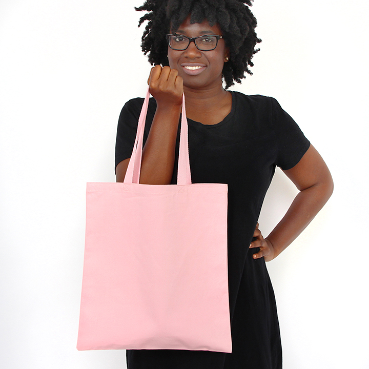 12 oz pink cotton tote with matching web handles