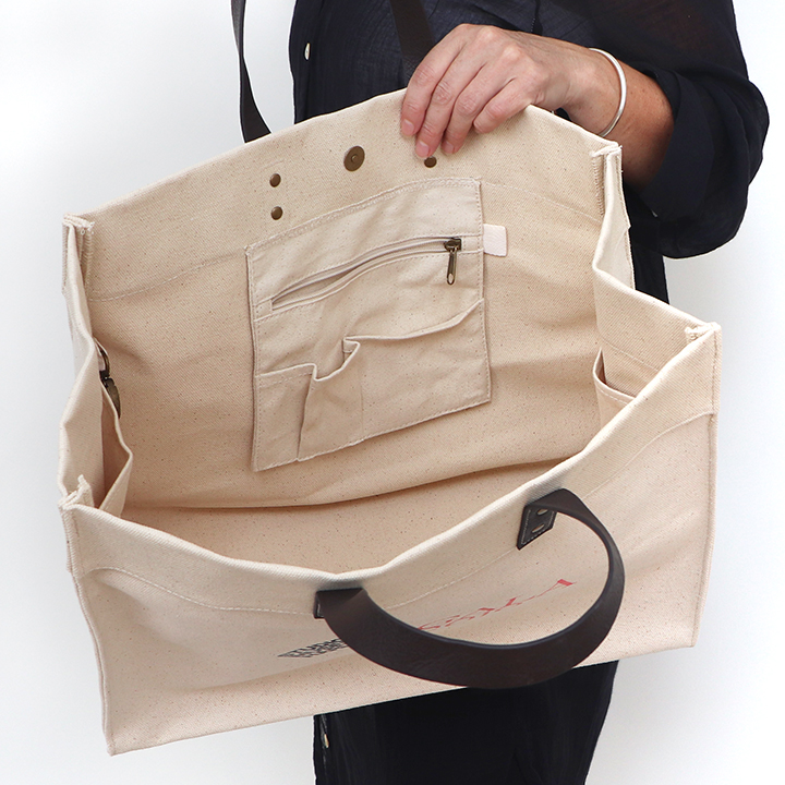 Interior Pocket Details Vegan Leather Handle Heavy Canvas Tote