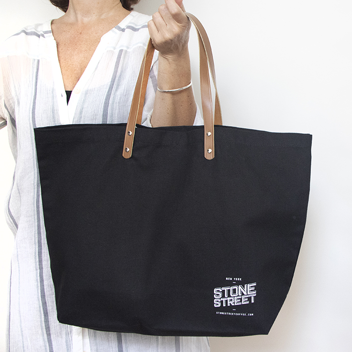 Leather Handle Tote -black