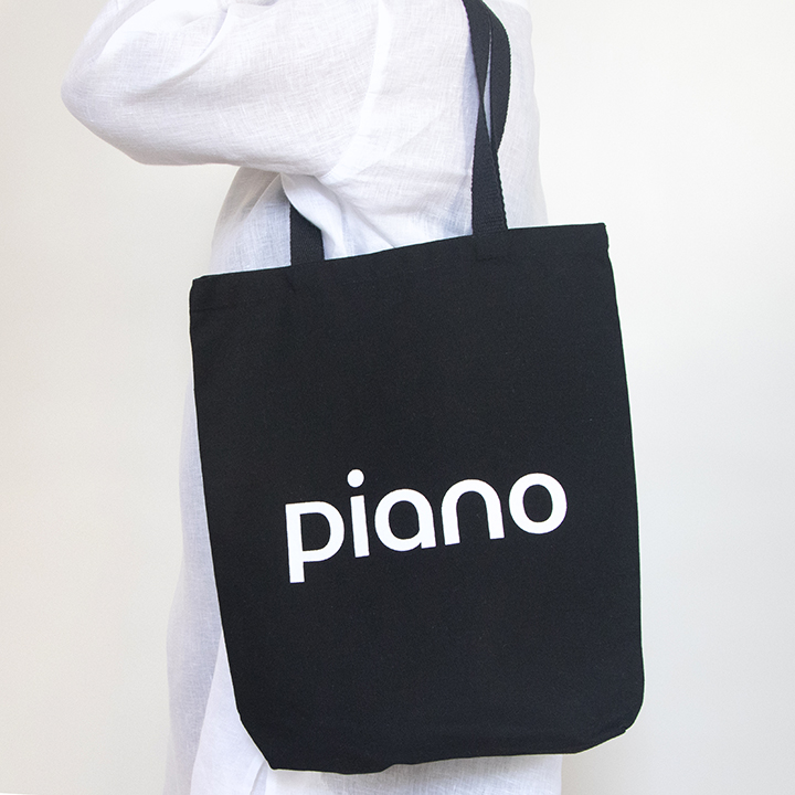 Perfect Tote in Black Canvas with Logo Imprint