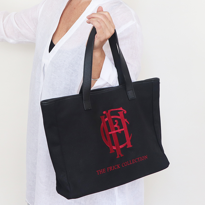 Black Leather Handle Canvs Tote with Embroidery