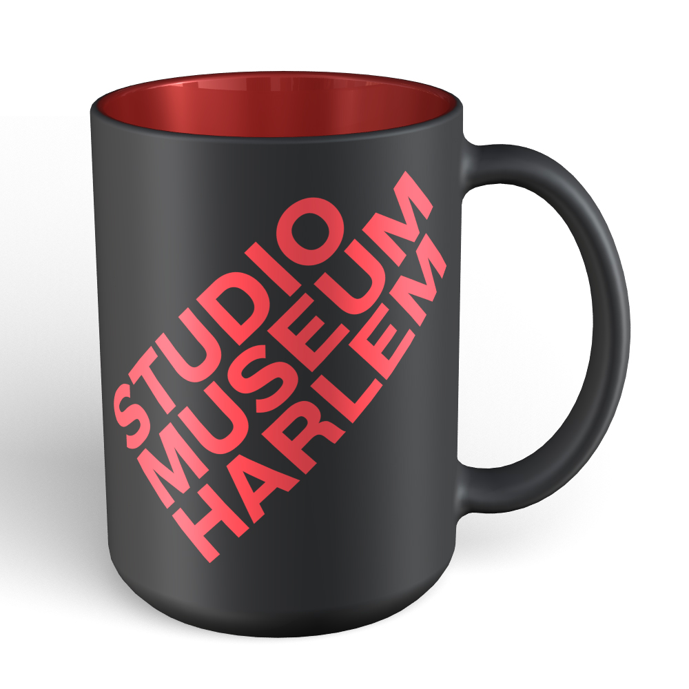 15 oz Matte Black mug with red interior and red logo