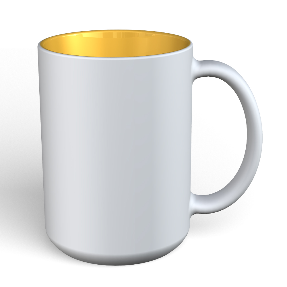 Matte Mug 15oz-White-Yellow-136C