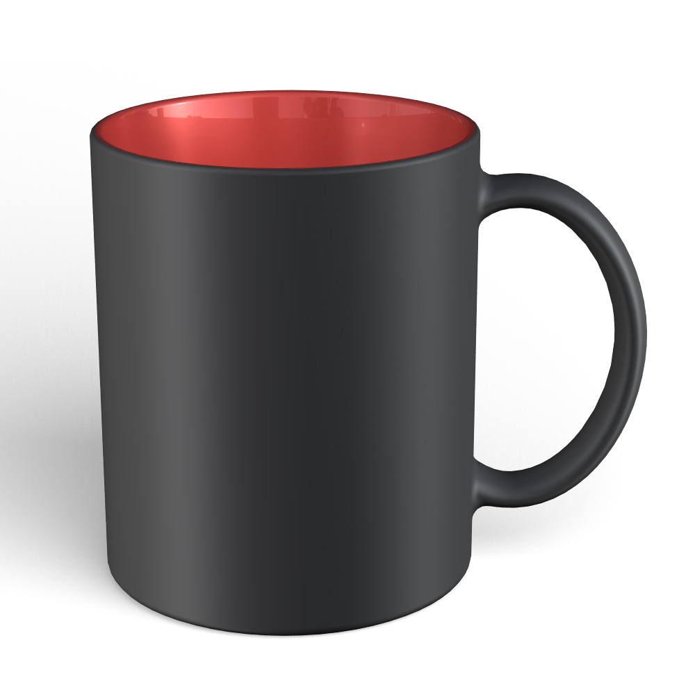 11 oz black matte mug red interior