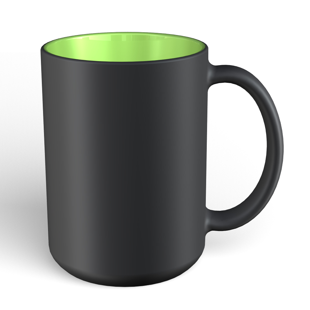 Matte Mug 15oz-Black-Lime 2283C