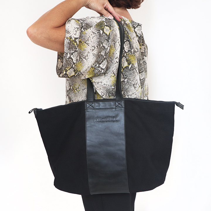 Leather and Canvas Moma Tote Bag in black with zipper