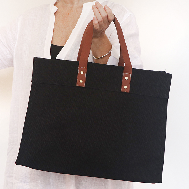 Vegan Leather Handle Tote Black