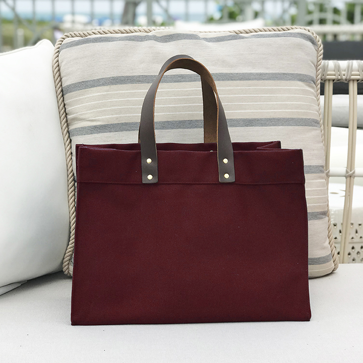 Industria Leather Handle Tote - Burgundy Color Canvas