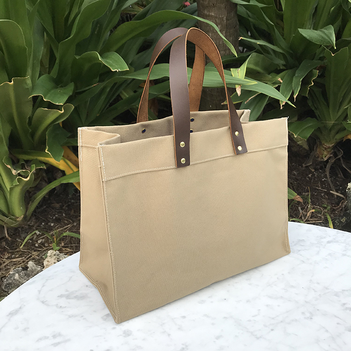 Industrial Leather Handle Tote - Khaki Color Canvas