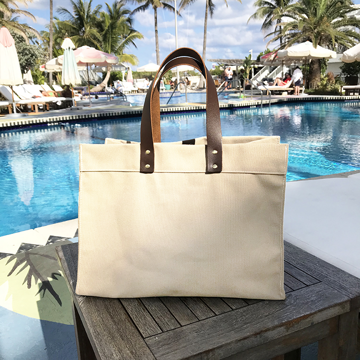 Industrial Leather Handle Tote - Natural Canvas