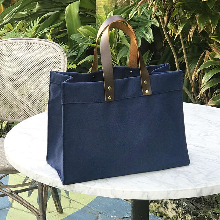 Industrial Leather Handle Tote - Navy Color Canvas