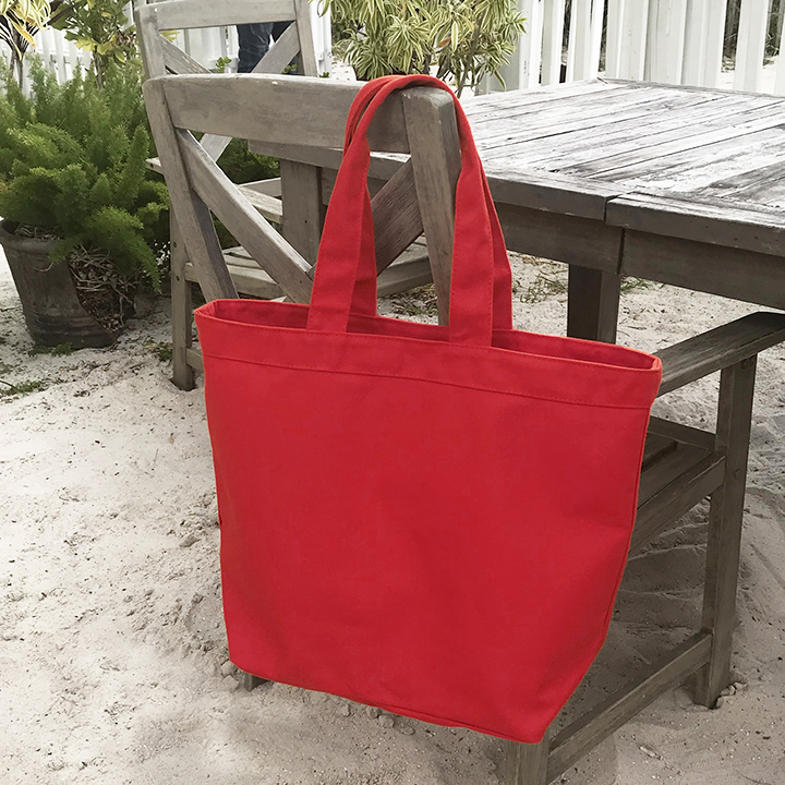 Large Canvas Beach Tote - Heavyweight Red Canvas